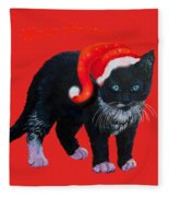 Meow Christmas Kitty Fleece Blanket