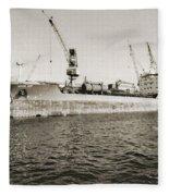 Merchant Ship Docked At Barcelona's Harbour Fleece Blanket
