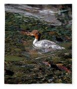 Merganser And Spawning Salmon - Odell Lake Oregon Fleece Blanket