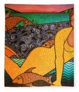 Mermaid And Friends Fleece Blanket