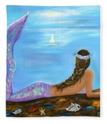 Mermaid Beauty On The Beach Fleece Blanket