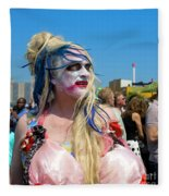 Mermaid Parade Man In Coney Island Fleece Blanket