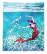 Mermaid Red Fleece Blanket