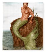 Merman On The Rocks Fleece Blanket