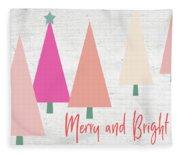 Merry And Bright Trees- Art By Linda Woods Fleece Blanket