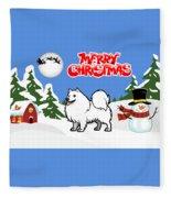Merry Christmas American Eskimo Dog  Fleece Blanket