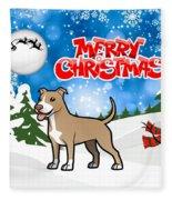 Merry Christmas American Pitbull Terrier  Fleece Blanket