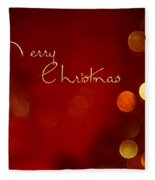 Merry Christmas Card - Bokeh Fleece Blanket
