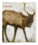 Merry Christmas Elk Greeting Card Fleece Blanket