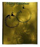 Merry Christmas Greetings In Soft Yellow Fleece Blanket