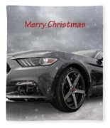 Merry Christmas Mustang S550 Fleece Blanket