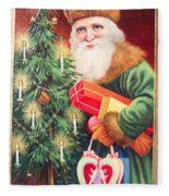 Merry Christmas Santa Delivers Gifts Vintage Card Fleece Blanket