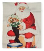 Merry Christmas Santa Pulls Doll From His Sack Vintage Card Fleece Blanket