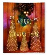 Merry Christmas Trees Colorful Fleece Blanket