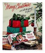 Merry Christmas Vintage Cigarette Advert Fleece Blanket