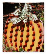 Metal Pumpkin Fleece Blanket