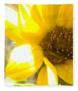 Metallic Green Bee In A Sunflower Fleece Blanket