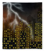 Metropolis At Stormy Night Fleece Blanket