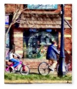 Metuchen Nj - Bicyclists On Main Street Fleece Blanket