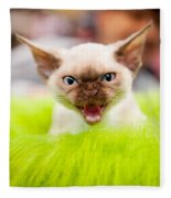 Mew Kitty Funny Mad Face Fleece Blanket