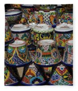Mexican Flowerpots Fleece Blanket
