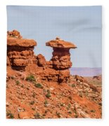 Mexican Hat Rock Monument Landscape On Sunny Day Fleece Blanket