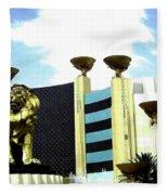 Mgm Lion In Las Vegas Fleece Blanket