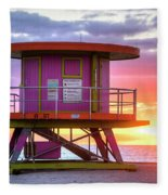 Miami Beach Round Life Guard House Sunrise Fleece Blanket