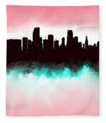 Miami Fla Skyline Fleece Blanket