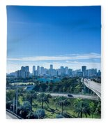 Miami Florida City Skyline And Streets Fleece Blanket