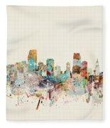 Miami Florida City Skyline Fleece Blanket