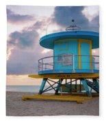 Miami Lifeguard Cabin At Sunrise Fleece Blanket