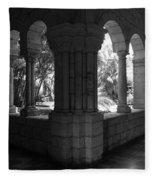 Miami Monastery In Black And White Fleece Blanket