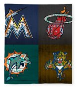 Miami Sports Fan Recycled Vintage Florida License Plate Art Marlins Heat Dolphins Panthers Fleece Blanket