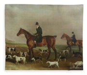 Michael Beverley With His Whipper In And Harriers Fleece Blanket