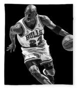 Michael Jordan Drives To The Basket Fleece Blanket