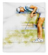 Michelle Wie Of Usa Putting At The  Lpga Lotte Championship  Fleece Blanket