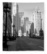Michigan Ave Tall B-w Fleece Blanket