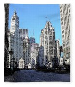 Michigan Ave Wide Fleece Blanket