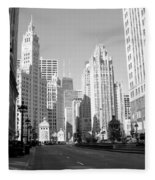 Michigan Ave Wide B-w Fleece Blanket