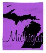 Michigan In Black Fleece Blanket