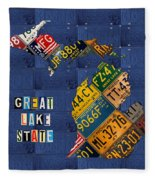 Michigan License Plate Map Great Lake State With Vintage Blue Plate Background Edition Fleece Blanket