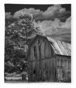 Michigan Old Wooden Barn Fleece Blanket