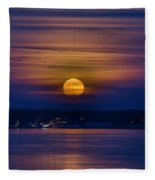 Michigan Super Moon Over Muskegon Lake Fleece Blanket