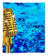 Microphone On Blues Fire Fleece Blanket