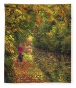 Mid Autumn On The Grand Union No 2 Fleece Blanket