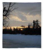 Mid March Sunrise Over Mississippi River Fleece Blanket