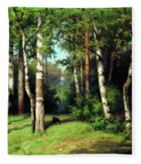 Midday Warmth In A Forest Impressionism Fleece Blanket