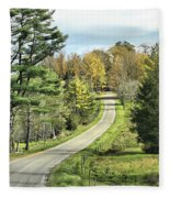 Middle Road In Autumn Fleece Blanket
