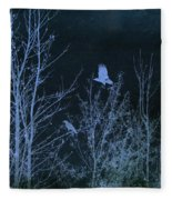 Midnight Flight Silhouette Blue Fleece Blanket